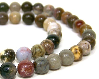 8mm OCEAN JASPER beads, round natural gemstone, full & half bead strands available (521S)