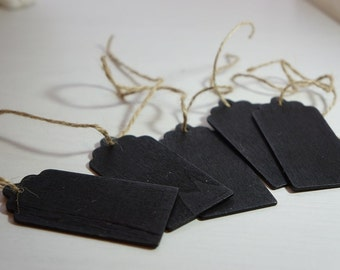 10 Small Blackboard Tags 8x4cm with Scallop Design ~ *Parties*Gifts*Labels* + Chalk