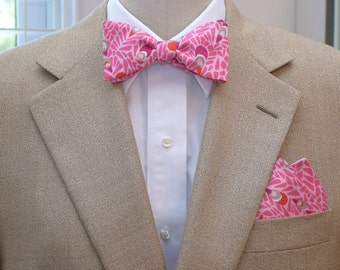 Lilly Pocket Square and Bow Tie (self-tie) in pink peacock design