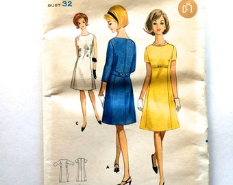 60s Butterick 4076 A Line Dress Semi Fitted - Size 12 Bust 32