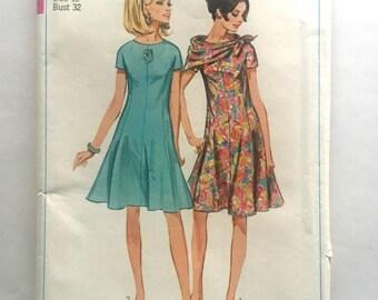 60s Simplicity 7122 Dress Princess Lines Kimono Sleeves, Scarf Size 12 Bust 32