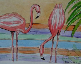 Two Flamingos and Palm | Print of a Watercolor and Pen and Ink Painting | Tropical Florida Retro Miami Art water hot pink palm tree