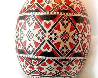 Ukrainian egg, pysanky, rhea egg, egg, hearts, black, red, stars, Easter