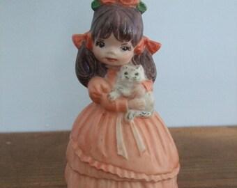 Vintage Little Girl Holding Kitten Figurine
