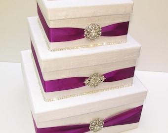 Wedding Card Box, Bling Card Box, Rhinestone Money Holder  - Custom Made