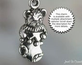 Teddy Bear in Christmas Stocking Charm Sterling Silver Holiday Gift