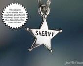 Sheriff Badge Charm Miniature Sterling Silver Star Old West Tiny .925