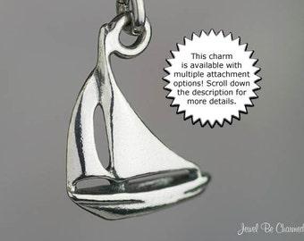 Sailboat Charm Small Sterling Silver Boat Sailing Nautical Ocean Beach