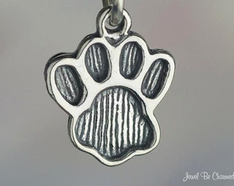 Paw Print Charm Sterling Silver Pawprint for Dog or Cat Paws Solid 925