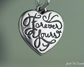 Sterling Silver Forever Yours Charm Heart Love Small Tiny Solid .925