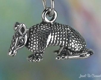 Sterling Silver Armadillo Charm Texas Armadillos Animal 3D Solid .925