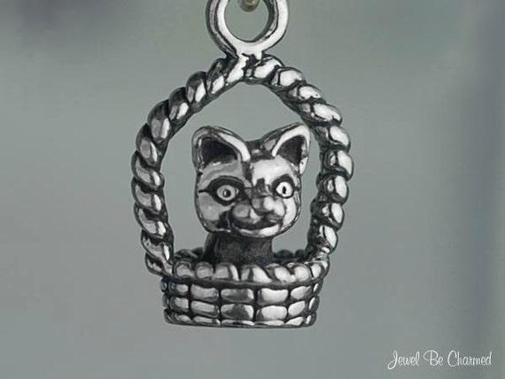 Cute Cat Charm Sterling Silver Kitten Kitty in a Basket 3D Solid .925