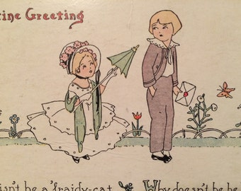 Valentine Postcard - Girl with Parasol and Boy -