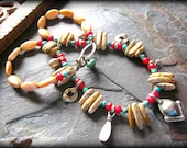 Kuchi Necklace, Earthy Rustic Necklace, Bellydance Jewelry, Mookaite Jasper, Red Coral, Spiny Oyster, Turquoise Jewelry,Ethnic Jewelry