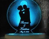 Moonlight Romance  Wedding Cake Topper  - Acrylic -Personalized - - Light EXTRA
