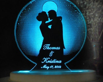 Moonlight Romance  Wedding Cake Topper  - Acrylic -Personalized - - Light EXTRA