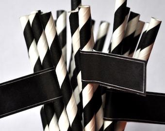 CHALKBOARD STRAW FLAGS - Qty 25 - Straw Flag - Self Stick - Chalkboard Wedding - Black and white