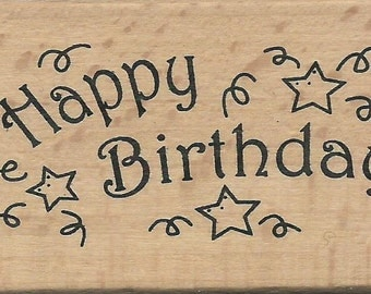Happy Birthday Stamp --   NEW  -- Wood Mounted Rubber Stamp -- Anita's Brand --   (#697)
