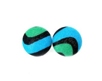 Dark green bright blue black button earrings - fabric stud earrings - funky post earrings