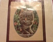 Vintage John Stubbs Embroidery Heritage Stitchcraft Embroidery Tabby Kitten Embroidery Kit Chart England cat Embroidery