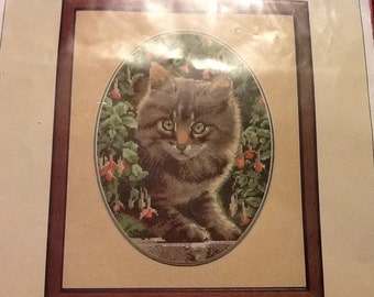 Vintage John Stubbs Embroidery Heritage Stitchcraft Embroidery Tabby Kitten Embroidery Kit Chart England cat Embroidery
