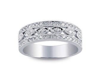 Pave Diamond Wedding Band - Pave Diamond Eternity Band - White Gold Eternity Ring