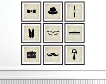 ON SALE this MONTH The Little Man Collection, Set of 9 Square Format Silhouette Photo Prints,  hipster fashion