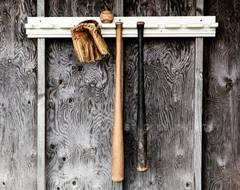 Bats, glove and ball in the dugout Wide angle  Photo Print ,Decorating Ideas, Wall Decor, Wall Art,  Kids Room, Nursery Ideas, Gift Ideas,