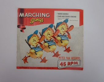 vintage 45RPM recording of childrens'  Marching songs, The Teddy Bears Picnic