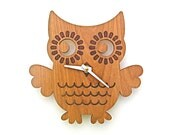 Wood Owl Clock: Wood Clock Kids Baby Nursery Children