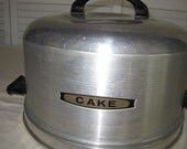 vintage Aluminum Cake Plate with Cover