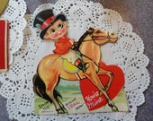 Valentine cards, 5 vintage Valentines, horse jockey, boy scout card, red hearts, scrapbooking, mixed media supply