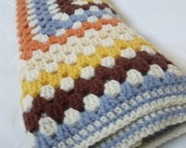 Crochet heirloom square baby blanket - girls - Blue orange yellow cream