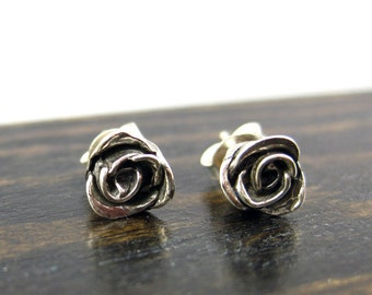 SOLID Sterling Silver Rose Stud Earrings, Silver Rose Earrings, Rose Studs, Sterling Flower Earrings, Silver Flower Studs,