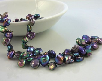 Top drilled peacock keshi pearls 6-9mm 1/2 strand