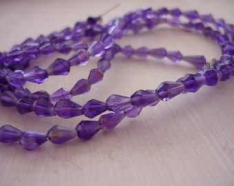 Tiny amethyst center drilled faceted briolette beads 4.5-5mm 1/2 strand