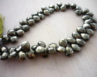 Pyrite faceted pear briolette beads 8-9mm 1/4 strand