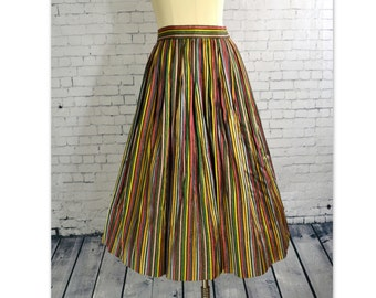 VINTAGE 1940's Skirt // Full Skirt with Jewel Tone / Black and Metallic Gold Vertical Stripes