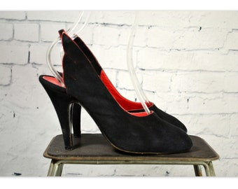 Vintage 1980's Black Suede Sling Back Pumps With Wings, 80's Designer High Heel Peep Toe Shoes, Black Suede w/ Red Trim,  by Mignani