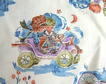 Vintage Boy and Girl Print Fabric- Vintage Little Boy and Girl riding Cars and Bicycles