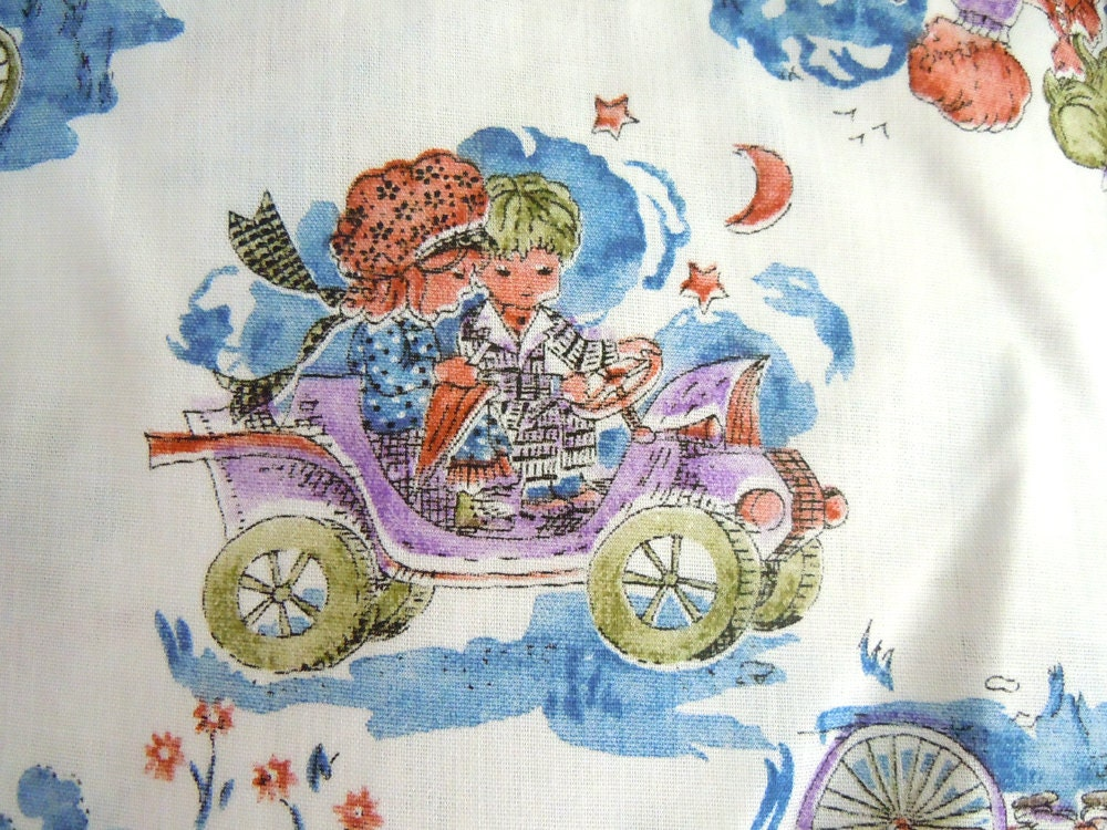 vintage boy and girl print fabric vintage little boy and girl
