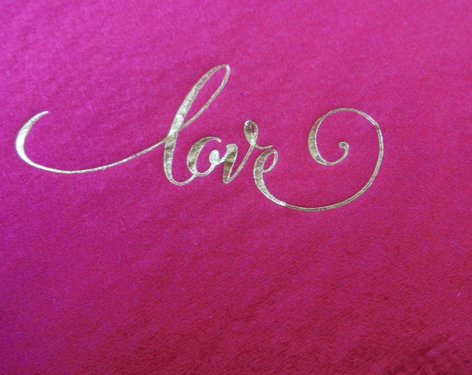Cocktail Napkins, Love, Gold Foil Stamp, Bridal Shower, Wedding, Valentine's Day, 20 CT.