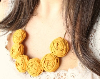 Valentine gift, Mustard wedding, Mustard necklace, Mustard fabric flower necklace, Mustard statement necklace