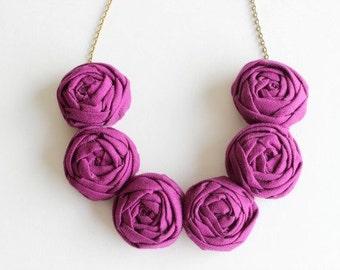 Plum necklace, Plum fabric flower necklace, Plum statement necklace