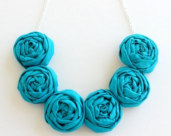 Deep Teal necklace, Teal fabric flower necklace, Teal statement necklace
