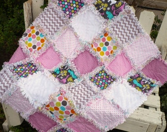 Baby Girl Rag Crib Quilt - Fresh and Modern Elephants Chevrons and Dots in Bright Pink Aqua and Gray Ready to Ship