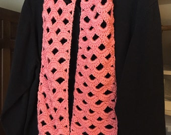 Gift for mom, sister, aunt, grandma--Crocheted Coral Scarf