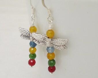 Dragonfly Crystal Earrings, Dragonfly Earrings, Sterling Silver, Colourful Dragonfly Earrings,Gemstone Earrings, UK Seller