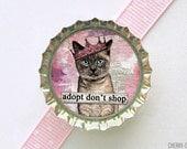 Cat Adoption Bottle Cap Magnet - cat magnet, pet adoption awareness, fridge magnet cat, fridge magnet cat party favor, cat favor, art magnet