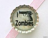 I Shoot Zombies Bottle Cap Magnet - boyfriend gift, for boyfriend zombie magnet, zombie survival, zombie hunter, zombie hunting zombie decor
